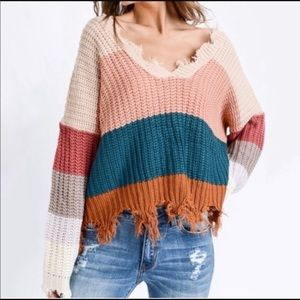 Miracle distressed color block sweater